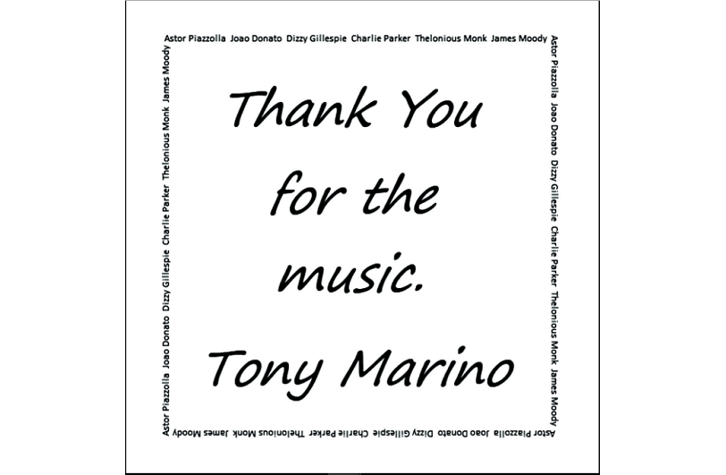 Tony Marino, Thank You For The Music, Original Jazz, Album Review, Composer, Musician, Music Blog, Music Review, Indie Blog, Review, Review, Indie Blog, Independent Music, Unsigned Artists, Music Promotion, Music Submissions, Producer Community, Music Tech Reviews, Music Tech Blog, Single Review,